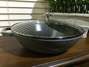 "Staub Cast Iron 4.5-qt 12"" Round Perfect Pan WOK  Grey Pot and lid Only"