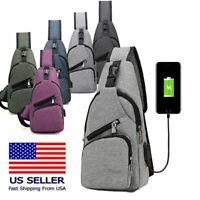 Men Women Sling Chest Pack Cross Body Shoulder USB Charging Port Sport Nylon Bag