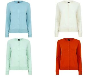 New Ladies Cardigan Full Sleeve Crew Neck Knit Knitted Cardi Cover up For Women