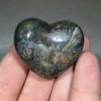 OCEAN JASPER Polished Pebble Orbicular Jasper Freeform Heart Display Piece