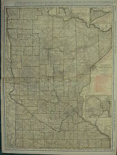 1922 LARGE AMERICA MAP MINNESOTA SHOWING RAILROADS PRINCIPAL CITIES RAND MCNALLY