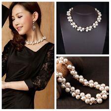 Mujer Elegante Collar Cadena Perla Gargantilla Colgante babero Necklace