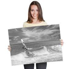 A1 - Windsurfer Surfing Waves Ocean Sea 60X90cm180gsm Print Bw #40842
