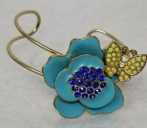 VTG gold Tone Metal faux sapphire Enamel Flower Butterfly Fashion Cuff Bracelet