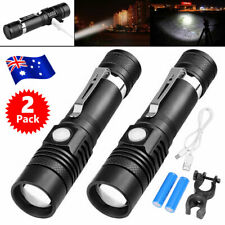 2X 60000lm LED Flashlight Torch USB Rechargeable Bike Mount Camping Lights Black