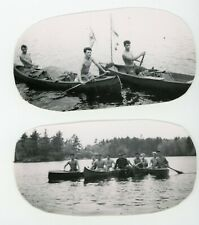 Handsome fit muscular shirtless guys in canoe -  Vintage photo Gay interest