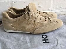 HOGAN OLYMPIA BEIGE SUEDE GOLD CRYSTALS SNEAKERS TRAINERS SHOES SZ 36 US 6 UK 3