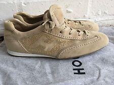 Hogan Olympia Beige Gamuza Oro Cristales Zapatillas Zapatillas Zapatos Talla 36 EE. UU. 6 Reino Unido 3