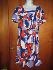 RETRO 1960s look Groovy funky bold FLORAL print dress WD-NY brand women's sz 4