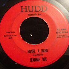 Jeannie Dee Shake a Hand / Three Fools in Love Funk Northern Soul on Hudd 1968