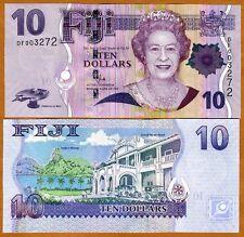 FIJI, 10 dollars, 2007 (2011), P-111b, QEII, UNC > New title and sig.