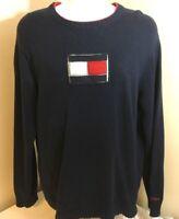 Vtg Tommy Hilfiger Sweater Premium Vintage Denim Blue w/ Flag Logo Medium Japan