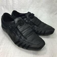 Puma Vedano Black Leather Suede No Lace Hook Loop Slip On Mens Sneakers Sz 11