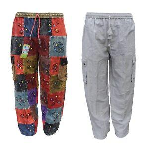 Mens Harem Pants hippie cargo trouser OM Patchwork cotton boho yoga unisex Hippy