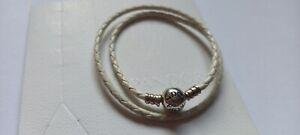 "Pandora Charm Armband""doppelt gewickelt Leder Ivory weiß Sterlingsilber 17,5 cm"