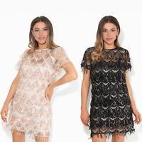 Womens Ladies Sequin Dress Party Shift Mini Short Fringe Evening Glitter Lurex