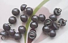 35pcs Buttons Faux Pearly Grey-black Round Half Ball Silver Wire Shank Dress 9mm