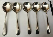 Vintage 5 X Silver Plate Old English EPNS Sheffield 17cm Soup Spoons - Cutlery