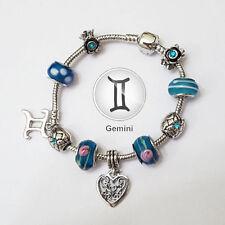Stylish GEMINI Zodiac Silver Blue Murano Teal Rhinestone Heart Charm Bracelet