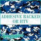 DIGITAL CAMO in Royal Blue, Black & White Pattern Adhesive Vinyl or HTV Transfer