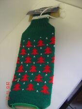 Christmas Bottle Cover Green Red Knit Trees White Pom Pom Vintage Joybrite