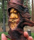 Wood Spirit Carving Forest Hobbit Knot Head Tree Wizard Log Home Gnome Cabin Art