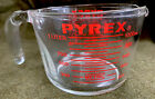 Vintage Glass Pyrex 4 Cup 1 Quart Measuring Cup Red Lettering # 532 NICE