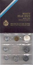 1974 Repubblica  di San Marino Monete Divisionali  FDC con 500 Lire in argento