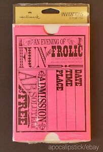 Pack of 8 Vintage70s Hallmark Ticket Invitations w/ Varying Typography Fonts