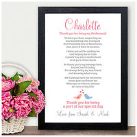Personalised THANK YOU Poem Gifts for Bridesmaid Maid of Honour Flower Girl