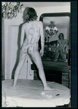 ee28 Pinup pin up full nude woman body art original 1950s gelatin silver photo