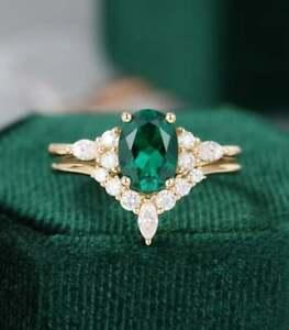 1.52 Ct Oval Cut Emerald Wedding Engagement Ring Set/Bridal Ring Set 925 Silver