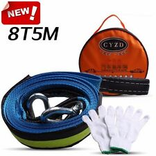 5M 8T Car Towing Rope Strap Tow Cable with Hooks Emergency Heavy Duty 8 Tons