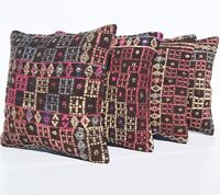 "RUG CUSHION HAND WOVEN 4 KILIM PILLOWS 16"" SQUARE WOOL TURKISH VINTAGE AREA RUGS"