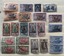 Lot of 22 used French Indian Pondichery postage stamps