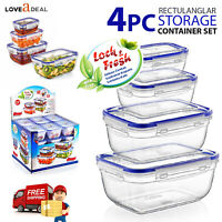 UK Airtight Lock & Fresh Clip Lid Food Hygiene Storage Container Lunch Boxes Set