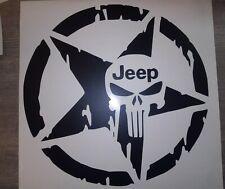 """NEW PUNISHER SKULL STAR Hood Door Window Vinyl Decal 12"""" (Fits Jeep Wrangler)"""