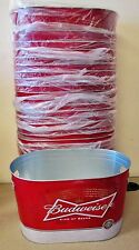 24x BUDWEISER Metal Oval Bottle Bar Bucket Holds Ice Beer Aluminum Tin Cans