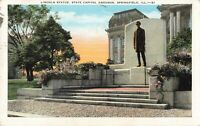 Postcard Lincoln Statue State Capitol Grounds Springfield Illinois