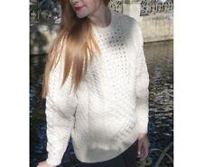 Kerstin Adolphson Sweater 100% Wool Cream Fisherman Chunky Knit Ireland Irish M