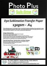 Dye Sublimation Heat Transfer Paper 130gsm A4 - 100 Sheets