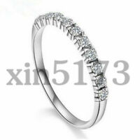 Simple 925 Silver Plated White Sapphire Band Ring Wedding Women Jewelry Gift