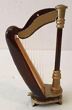 Vintage Dollhouse Miniature Wooden Harp Musical Instrument