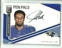 2019 DONRUSS ELITE JUSTICE HILL PEN PALS ROOKIE ON CARD AUTO RAVENS RC