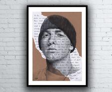 Eminem Portrait Drawing with Lose Yourself Lyrics Fine Art Giclée Print A4 Size