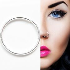 Sterling Silver 8mm Seamless Plain Nose Cartilage Ring Stud Hoop Body Peircing