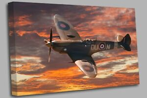 Supermarine Spitfire aircraft clouds Canvas Wall Art Picture Print