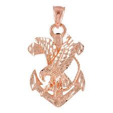 Pure Rose Gold Anchor Eagle Diamond Cut Pendant