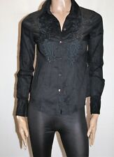 ESPRIT Brand Black Embroidered Long Sleeve Shirt Size XS BNWT #SE117