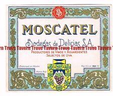 Unused 1940s MEXICO Bodegas Delicias VINO MOSCATEL Wine Label